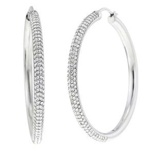 Michael Kors Park Avenue Pave Silver Hoop Earring
